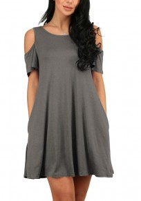 Grey Cut Out Draped A-line Short Sleeve Cotton Mini Dress