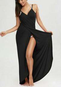 Black Draped Backless Spaghetti Strap Slit Beach Maxi Dress