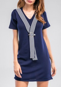 Dark Blue Striped Ribbons V-neck Short Sleeve Casual Mini Dress