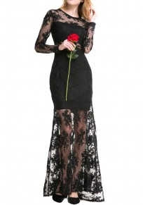 Black Patchwork Lace Grenadine Round Neck Maxi Dress