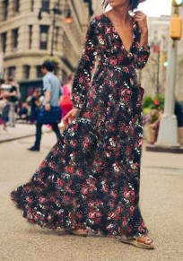 Purplish Blue Floral Print Ruffle Deep V-neck Long Sleeve Maxi Dress