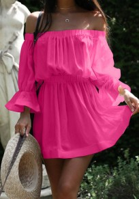 Rose Carmine Pleated Ruffle High Waisted Off Shoulder Flare Sleeve Sweet Homecoming Party Mini Dress