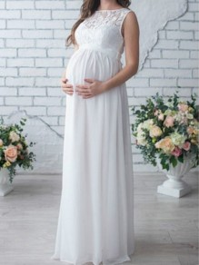 White Patchwork Lace Belt Elegant Maternity Maxi Dress