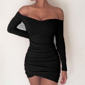 Black Irregular Pleated Boat Neck Long Sleeve Mini Dress