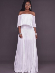 White Ruffle Bandeau Off Shoulder Chiffon Ruched Formal Elegant Maxi Dress