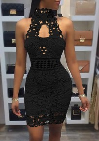 Black Patchwork Cut Out Lace Zipper Fashion Mini Dress