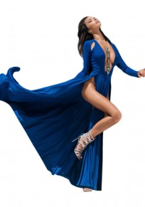 Sapphire Blue Cut Out Deep V-neck Plus Size Double Slit Maxi Dress