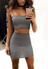 Black White Plaid Spaghetti Straps Backless Two-Piece Bodycon Cute Mini Dress