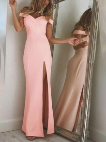 Pink Mermaid Off Shoulder Irregular Side Slit Plus Size Prom Evening Party Elegant Maxi Dress