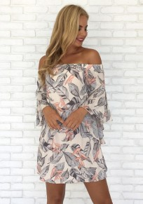 Grey Floral Cut Out Ruffle Boat Neck Casual Mini Dress