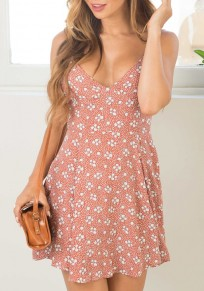 Pink Floral Spaghetti Strap V-neck Sleeveless Bohemian Mini Dress
