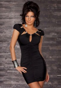 Black Studded Irregular Ruffle Backless Round Neck Short Sleeve Mini Dress