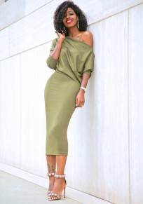 Light Green Irregular Draped Long Sleeve Below Knee Maxi Dress