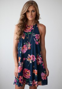 Multicolor Floral Print Irregular Draped Round Neck Sleeveless Mini Dress