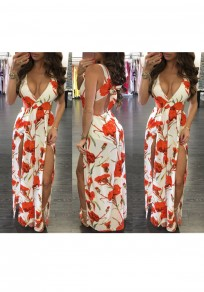 White Floral Tie Back Zipper Backless Side Slit Cut Out Flowy Maxi Dress