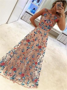 Pink Floral Grenadine Embroidery Sleeveless Maxi Dress