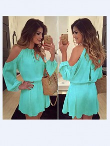Sky Blue Cut Out Draped Round Neck Long Sleeve Casual Loose Midi Dress