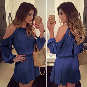 Dark Blue Cut Out Draped Round Neck Long Sleeve Casual Loose Midi Dress