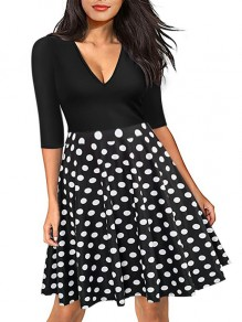 Black Polka Dot Deep V-neck High Waisted Half Sleeve Skater Midi Dress