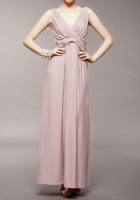 Pink Condole Belt Backless Draped Spaghetti V-neck High Waisted Bridesmaid Party Maxi Dress
