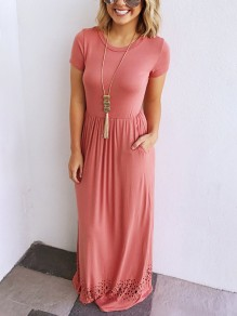 Pink Cut Out Draped Round Neck Casual Maxi Dress