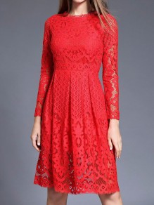 RedPatchwork Lace Draped Long Sleeve Elegant Midi Dress
