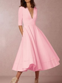 Pink Ruffle Pleated Zipper Plus Size Elbow Sleeve Homecoming Party Elegant Maxi Dress