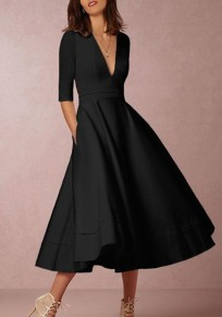 Black Ruffle Pleated Zipper Plus Size Elbow Sleeve Homecoming Party Elegant Maxi Dress