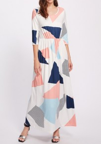 White Geometric Draped Round Neck Elbow Sleeve Maxi Dress