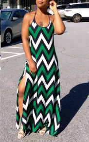 Green Draped Cut Out Backless Slit Round Neck Maxi Dress