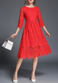 Red Irregular Double-deck Lace Round Neck Elbow Sleeve Midi Dress