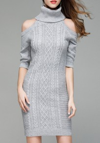 Grey Irregular High Neck Elbow Sleeve Mini Dress