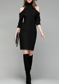Black Irregular High Neck Elbow Sleeve Mini Dress