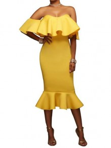Yellow Bandeau Ruffle Backless Off Shoulder Mermaid Bodycon Evening Party Midi Dress