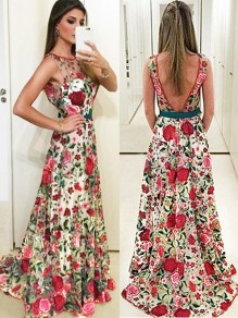 Multicolor Bohemian Floral Backless Print Round Neck Floor-length Draped Bridesmaid Party Maxi Dress