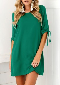 Green Irregular Round Neck Elbow Sleeve Mini Dress
