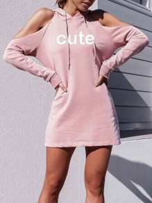 Pink Letter Cute Print Irregular Drawstring Hooded Off Shoulder Long Sleeve Casual Mini Dress