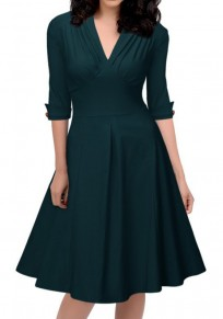 Dark Green Pleated Buttons V-neck Elbow Sleeve Vintage Midi Dress