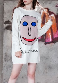 White Cartoon Print Oversize Long Sleeve Casual Mini Dress