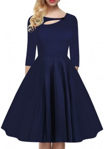 Navy Blue Pleated Button Cut Out Round Neck Long Sleeve Fashion Midi Dress