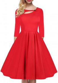 Red Pleated Button Cut Out Round Neck Long Sleeve Fashion Midi Dress