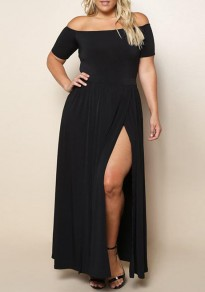 Black Draped Pleated Off Shoulder Backless Side Slit Plus Size Simple Party Prom Maxi Dress
