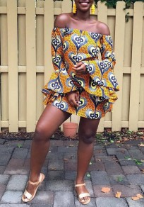 Yellow Tribal Print Ruffle Off Shoulder Bell Sleeve Mini Dress