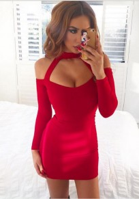 Red Backless Bodycon Spaghetti Strap Halter Neck Prom Evening Party Mini Dresses