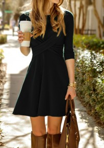 Black Pleated Round Neck Elbow Sleeve Fashion Mini Dress