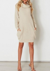 Beige Pockets Dolman Sleeve Oversized Casual Turtleneck Sweater Mini Dress