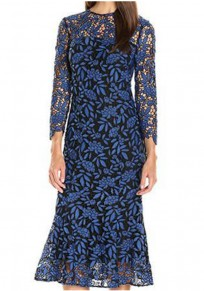 Blue Patchwork Lace Cut Out Round Neck Long Sleeve Maxi Dress