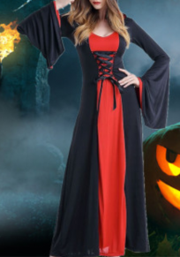 Black-Red Patchwork Draped Drawstring Novelty Halloween Party Maxi Dress