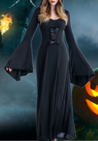 Black Draped Drawstring Novelty Halloween Party Maxi Dress