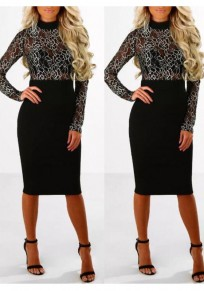 4c07ee7f0d5 Black Patchwork Lace Grenadine Band Collar Long Sleeve Bodycon Party Midi  Dress